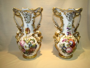 Old Paris Hand Painted Vases Large $3450.00