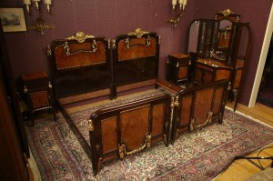 Large German Inlaid and Gilt Bed Suite $16985.00