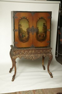 Turn of the Century Hand Painted and Gilt China Cupboard $1885.00