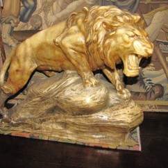 Large Marble Lion Signed L. Riche $3250.00