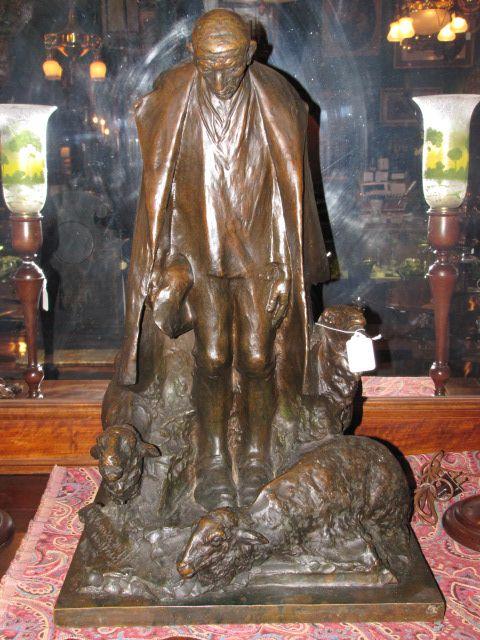 Signed Bronze Shepherd Sculpture $2250.00