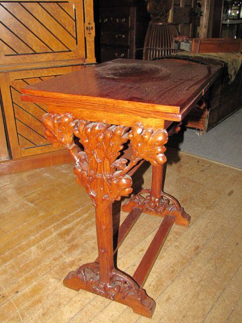 Heavily Carved Draw Leaf Table with Oak Leaves and Acorns $1650.00